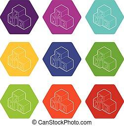 blokje, brieven, een, iconen, alfabet, vector, negen, set