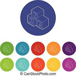 blokje, brieven, een, iconen, kleur, alfabet, vector, set
