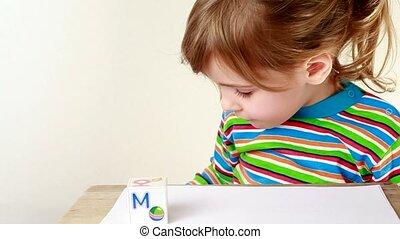 blokje, brieven, zet, het verkrijgen, samen, mama, woord, ...