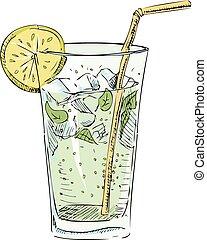 blokje, citrus, ijs, glas, soda, segment