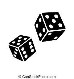blokje, dobbelsteen, twee, achtergrond., vector, black , witte