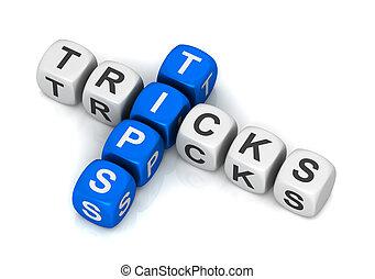 blokje, illustratie, trucs, concept, tips, 3d