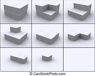 blokje, in, stappen