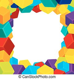 blokje, kleurrijke, frame, geometrisch, vector, achtergrond