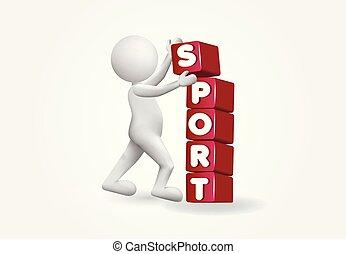 blokje, mensen, beeld, plaatsing, vector, kleine, sportende, 3d