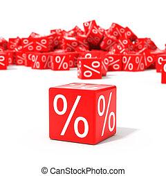 blokje, procent, brandpunt, rood