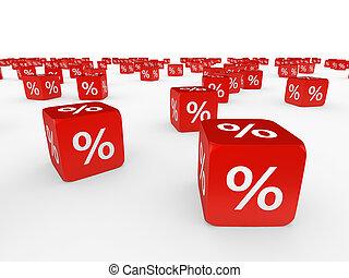 blokje, procent, rood