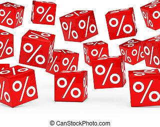 blokje, procent, verkoop, rood