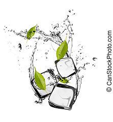 blokje, vrijstaand, ijsje water, gespetter, achtergrond, witte