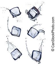 blokje, vrijstaand, ijsje water, gespetter, verzameling, achtergrond, witte