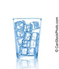 blokje, vrijstaand, ijsje water, glas, achtergrond, witte