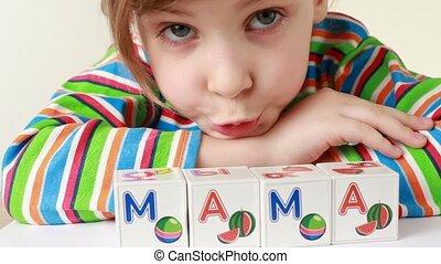 blokje, woord, het verkrijgen, samen, mama, brieven, meisje...