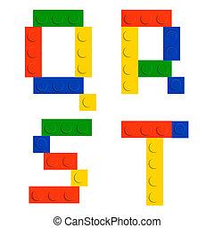 blokjes, baksteen, bouwsector, alfabet, vrijstaand, speelbal, set, gemaakt, witte