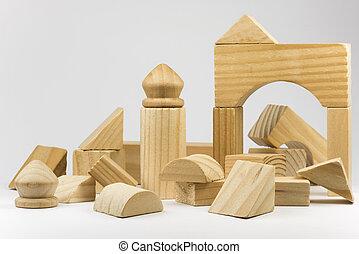 blokjes, houten, gebouw