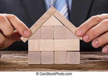 blokjes, houten huis, vervaardiging, zakenman, model