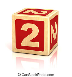 blokjes, houten, verkleumder twee, 2, lettertype