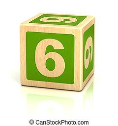 blokjes, houten, zes, nummer 6, lettertype