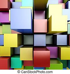 blokjes, kleurrijke, achtergrond, 3d