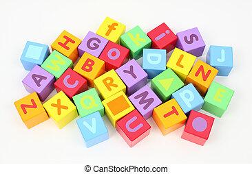 blokjes, kleurrijke, houten, brieven