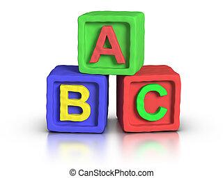 blokjes, toneelstuk, alfabet, -