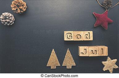 blokke, jul, gud, af træ