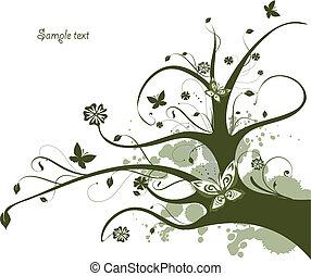 blom formgivning, träd, grön, flytande
