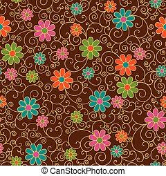 blom- mönstra, filigran, retro