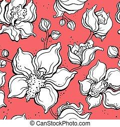 blom- mönstra, med, orchids., hand, oavgjord, illustration., seamless, bakgrund