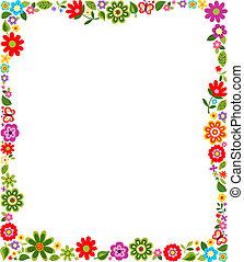 blom- mönstra, ram, gräns