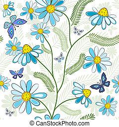 blom- mönstra, repeterande, vit