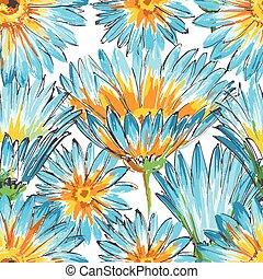 blom- mönstra, retro, seamless