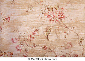 blom- mönstra, tapet, sjabbig, beige
