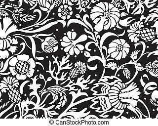 blom- mönstra, vit, svart, seamless