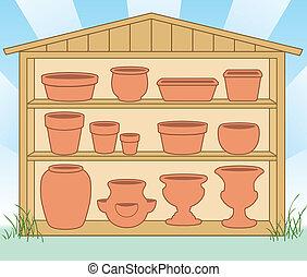 blomkrukor, lergods, skjul, lagring