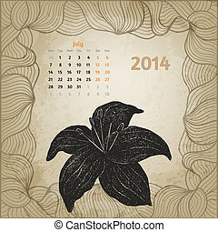 blomma, årgång, bläck, variant, penna, juli, hand, botanisk, calendar., sekund, artistisk, serie, oavgjord, kalender, en, 2014., template., kort