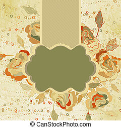 blomma, årgång, eps, 8, template., kort