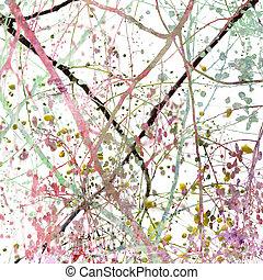 blomma, abstrakt, grunge