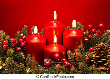 blomma, advent, ordning, 4, stearinljus, röd