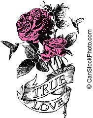 blomma, emblem, fågel, inbillning