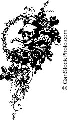 blomma, emblem, kranium
