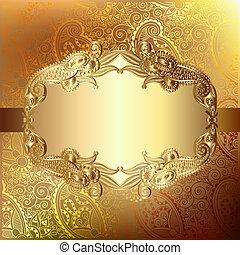 blomma, eps10, spets, guld kort, hälsning, mönster, elegant, lyxvara, bakgrund