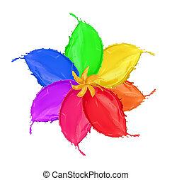 blomma, färgad, blomma, isolerat, måla, stänk, gjord, bakgrund, vit