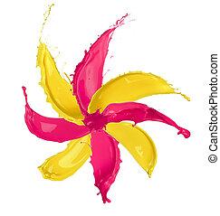 blomma, färgad, blomma, isolerat, specificera, stänk, gjord, bakgrund, vit