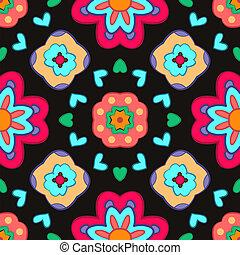blomma, färgrik, mönster, abstrakt, bakgrund., svart, geometrisk