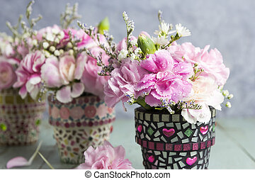 blomma, gammal, kruka, ved, nejlika, Blomstrar, mosaik