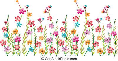 blomma, gräns, inbillning