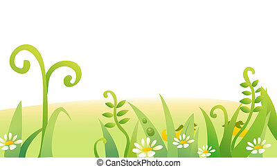 blomma, gräs