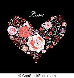 blomma, hjärta, vektor