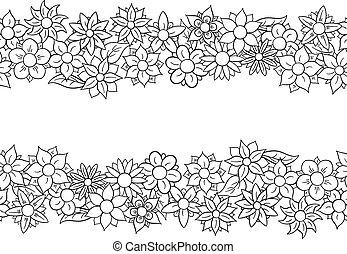 blomma, horisontal, seamless, gräns