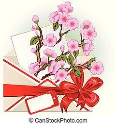 blomma, körsbär, kuvert